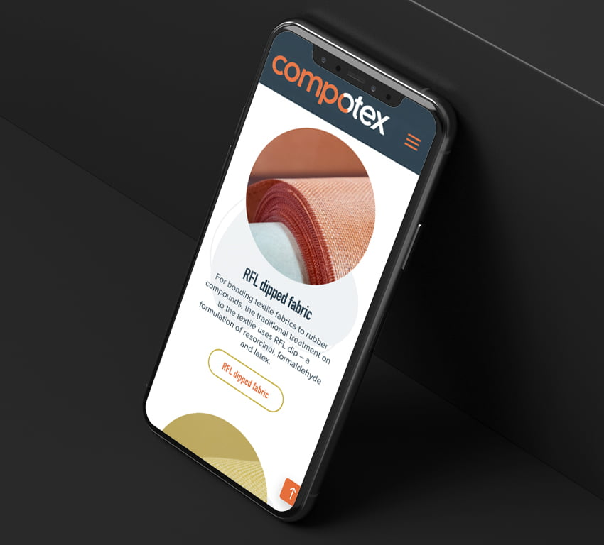 Compotex website on mobile