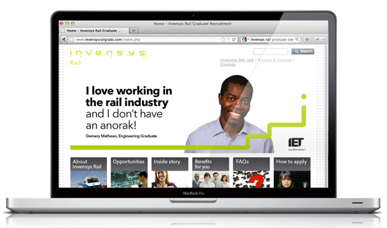 Invensys Rail website design by Marcom, Bath