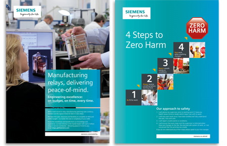 Siemens digital, print and construction elements, advertising campaigns and reports