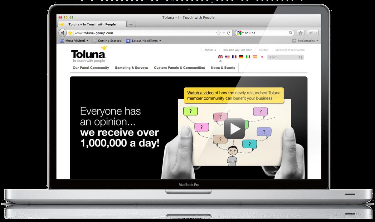 Website design for Toluna, an online market research by Mar-Com, Bath